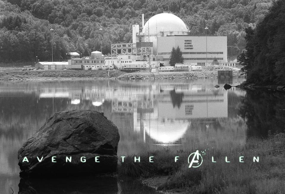 Decommissioned nuclear reactors as Avengers Endgame posters